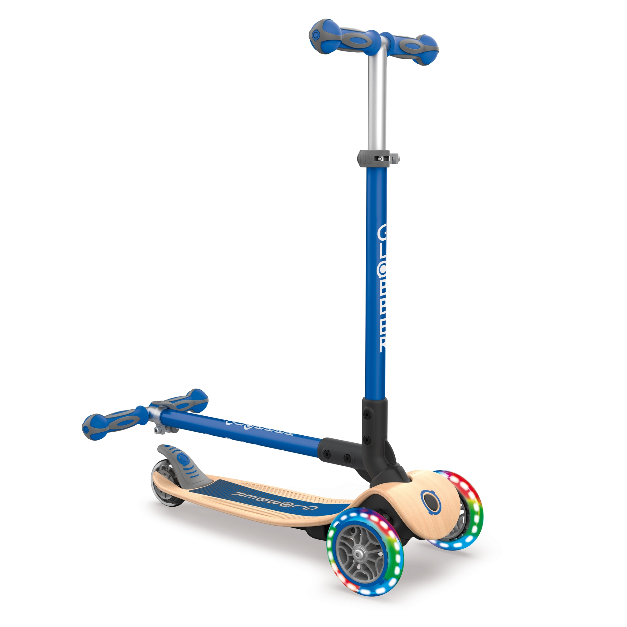 Globber-PRIMO-FOLDABLE-WOOD-LIGHTS-3-wheel-foldable-light-up-scooter-with-7-ply-wooden-scooter-deck-and-light-up-wheels 2