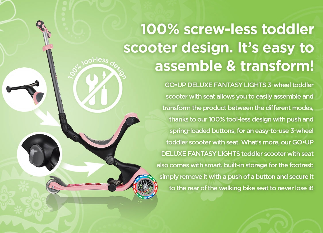 GO•UP DELUXE FANTASY LIGHTS is the best 3 in 1 scooter as it allows you to easily assemble and transform the scooter between 3 different modes.