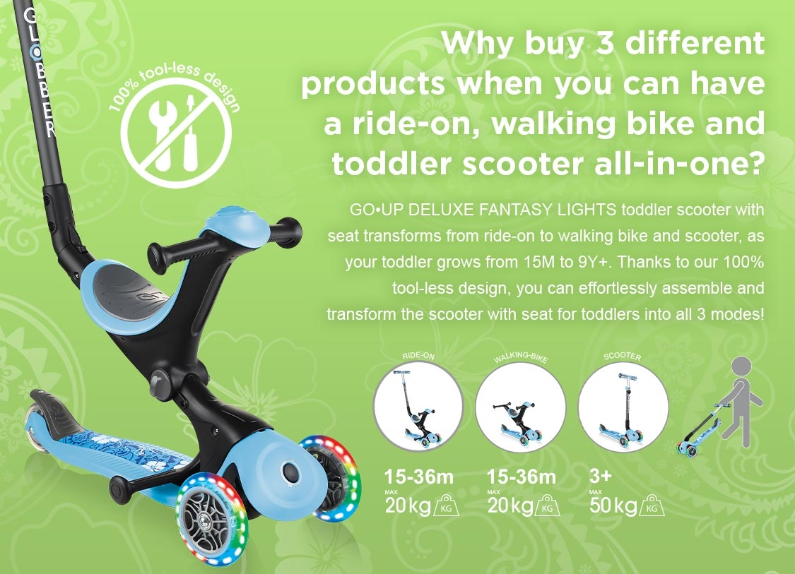 GO•UP DELUXE FANTASY LIGHTS 3 in 1 scooter for toddlers transforms from ride-on to walking bike and scooter, as your toddler grows from 15M to 9Y+.