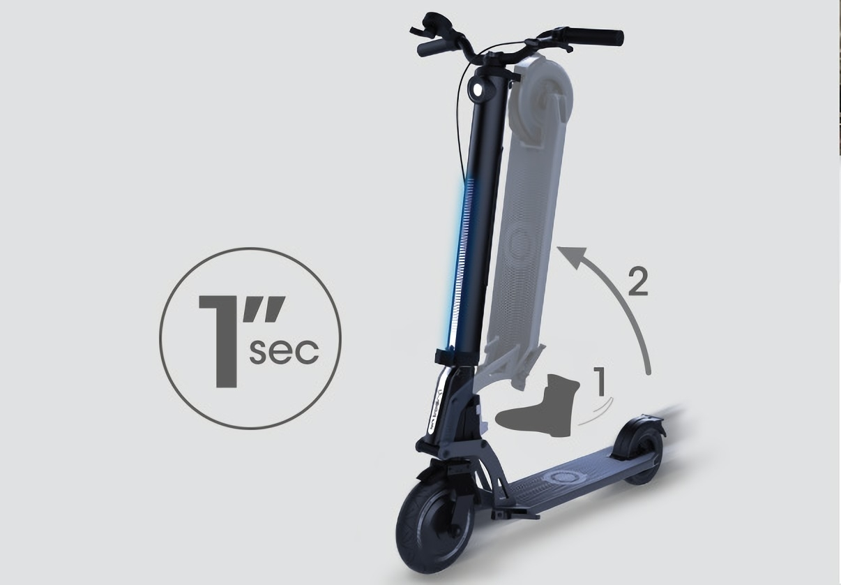""" It's A Foldable Electric Scooter.  KICK & FOLD. """
