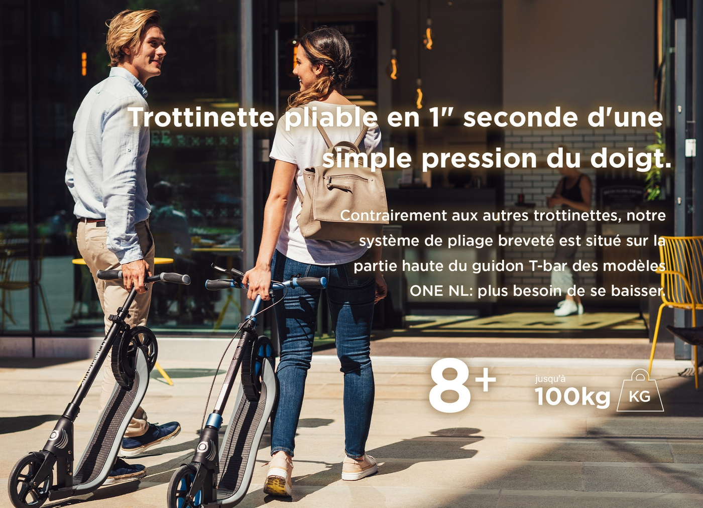 Trottinette pliable en 1 seconde d'une simple pression du doigt.