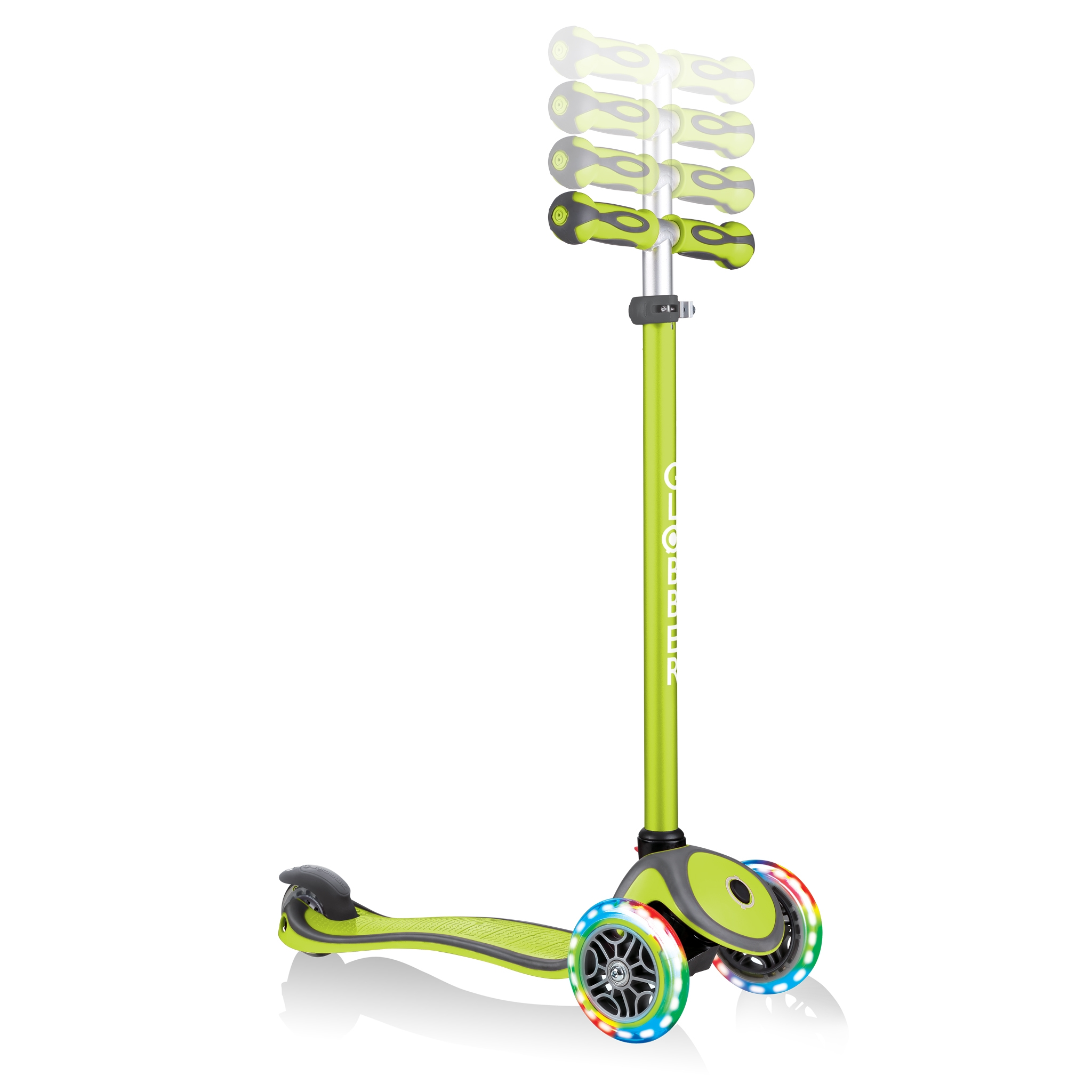 GO-UP-COMFORT-LIGHTS-scooter-with-seat-4-height-adjustable-T-bar-lime-green 5