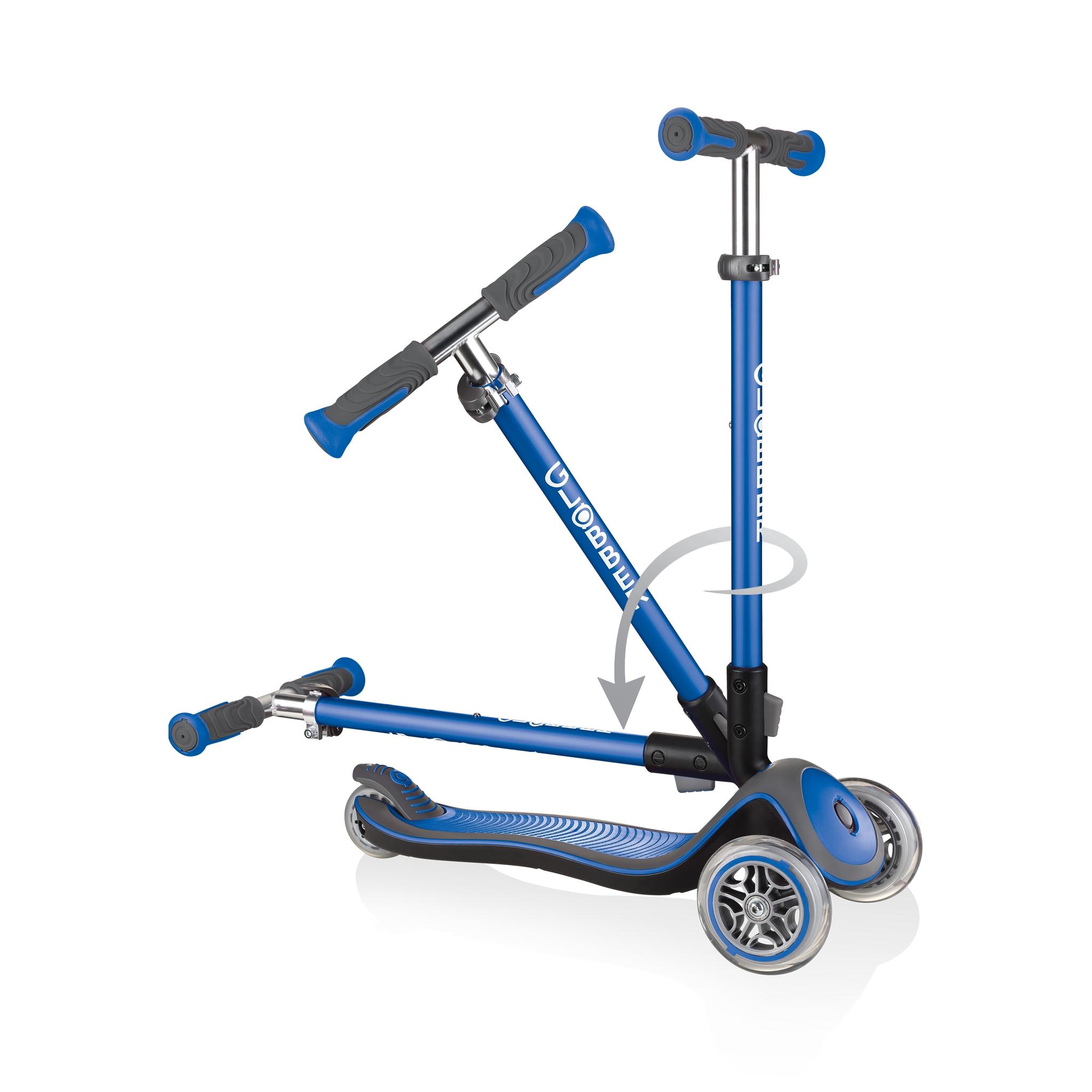 Globber-ELITE-DELUXE-3-wheel-fold-up-scooter-for-kids-navy-blue 2