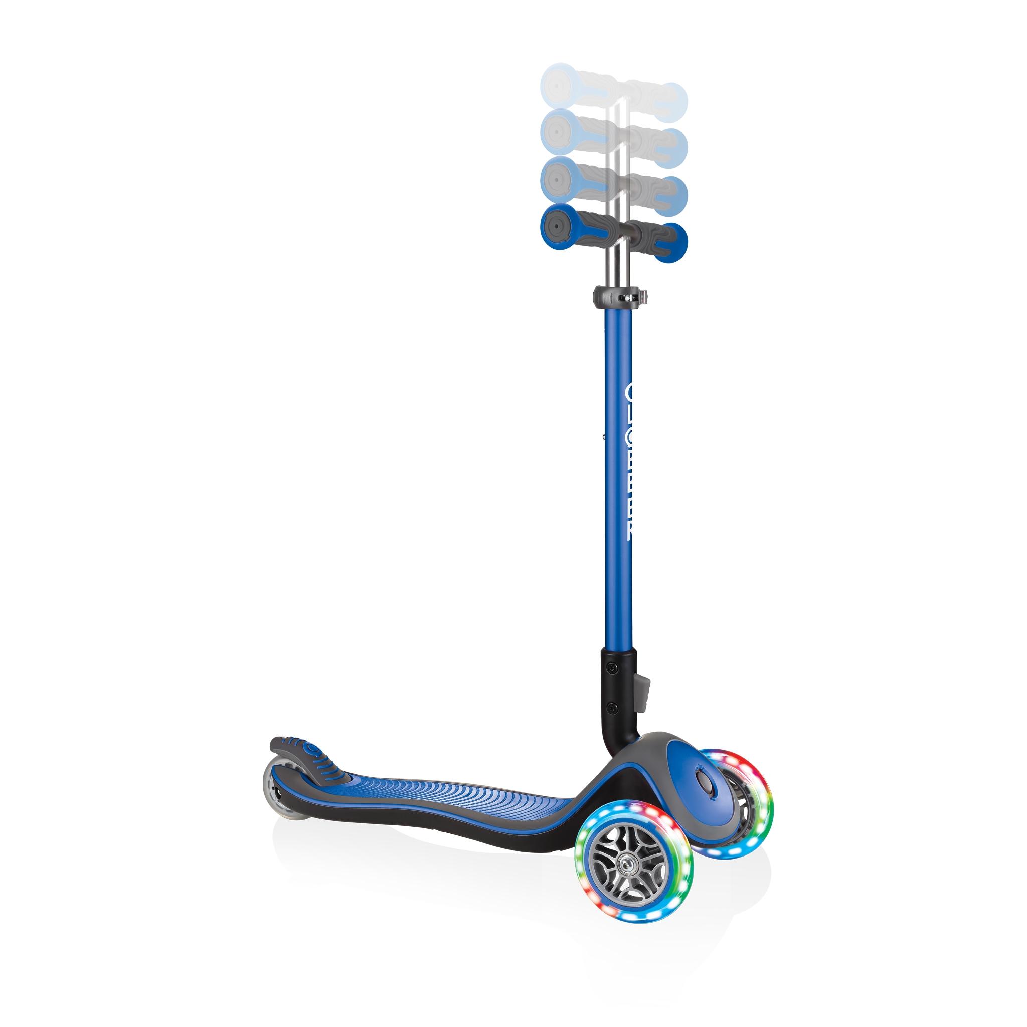 Globber-ELITE-DELUXE-LIGHTS-3-wheel-adjustable-scooter-for-kids-with-light-up-scooter-wheels-navy-blue 1
