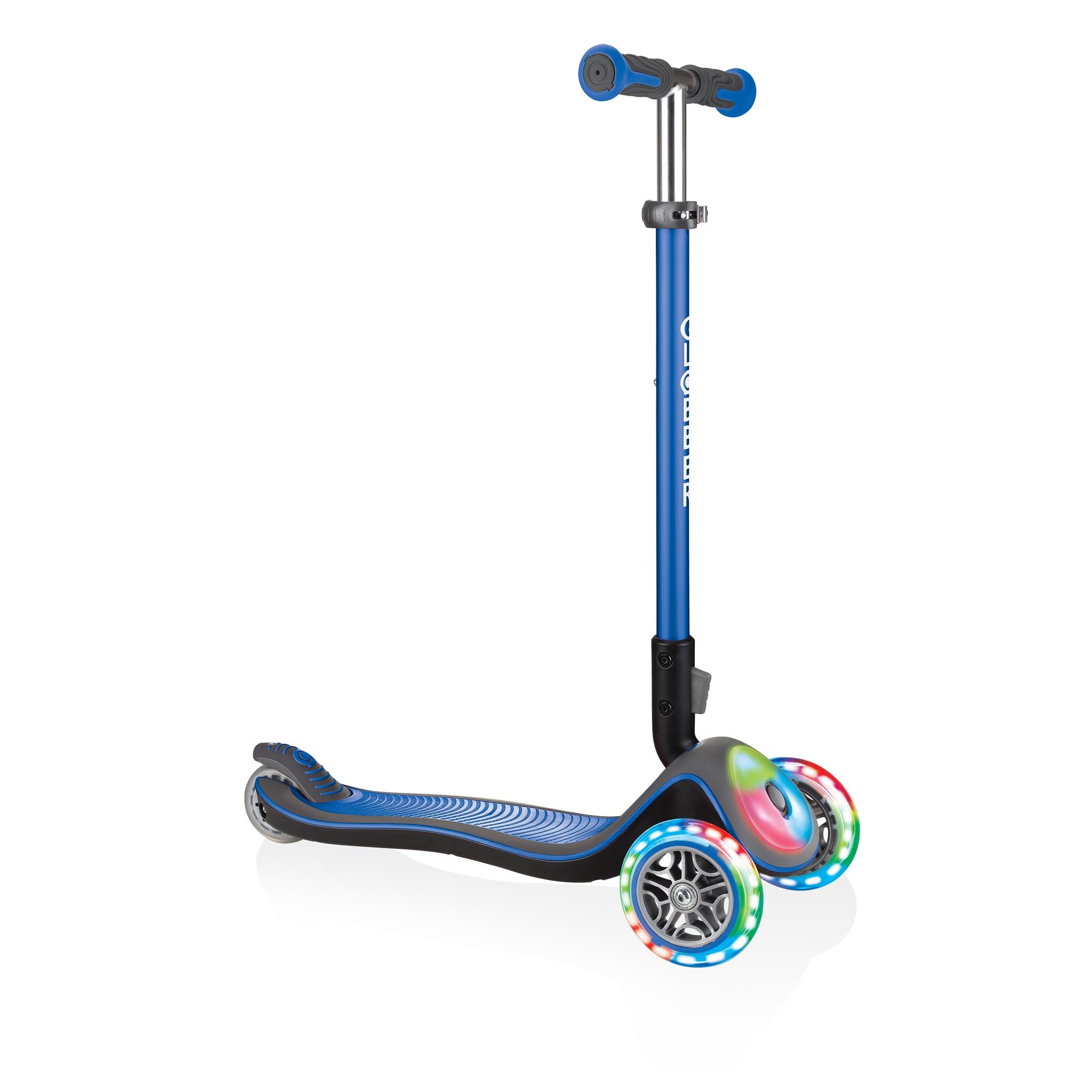 Globber-ELITE-DELUXE-FLASH-LIGHTS-3-wheel-light-up-scooter-for-kids-aged-3+-navy-blue 0