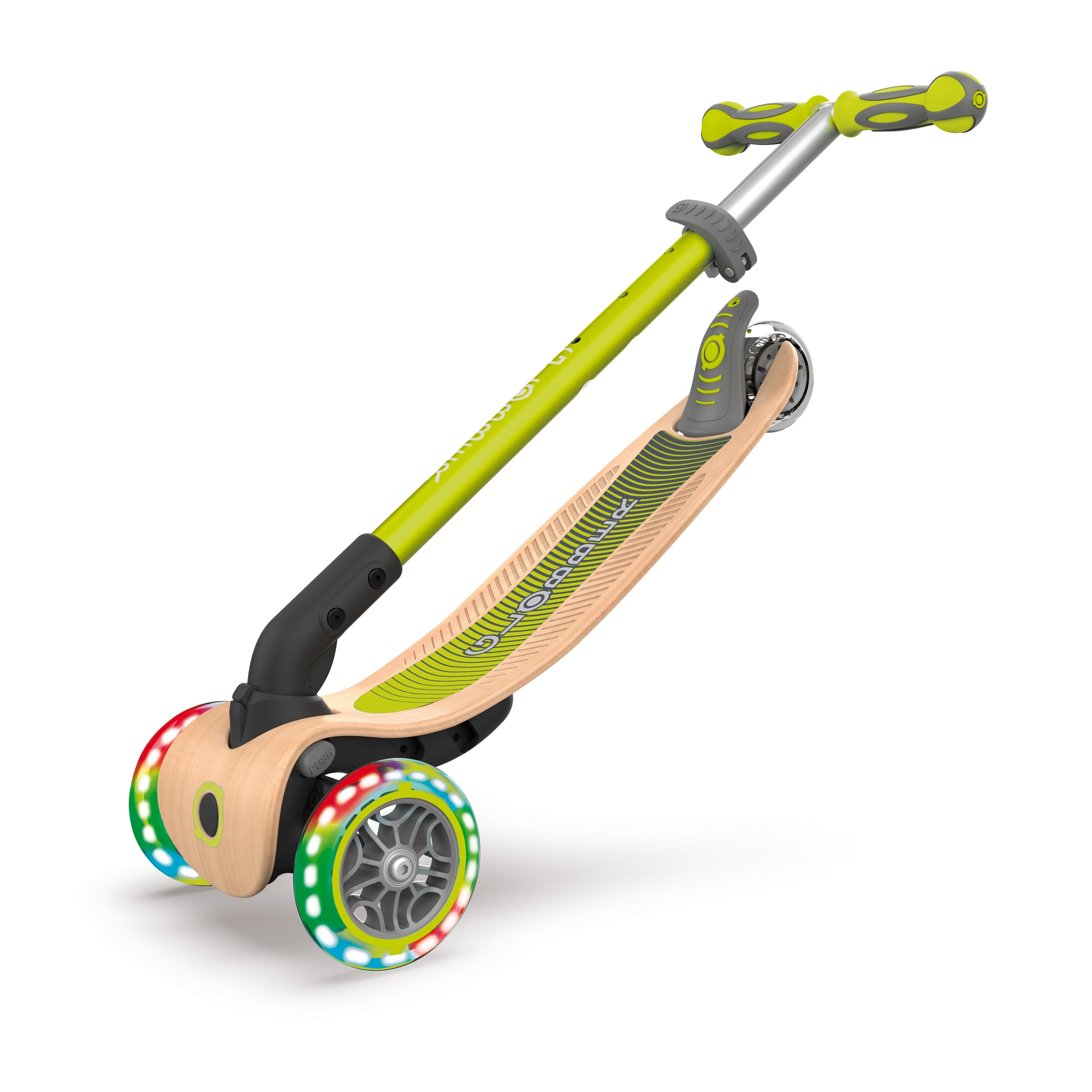 PRIMO-FOLDABLE-WOOD-LIGHTS-3-wheel-foldable-light-up-scooter-with-7-ply-wooden-scooter-deck-trolley-mode-compatible_lime-green