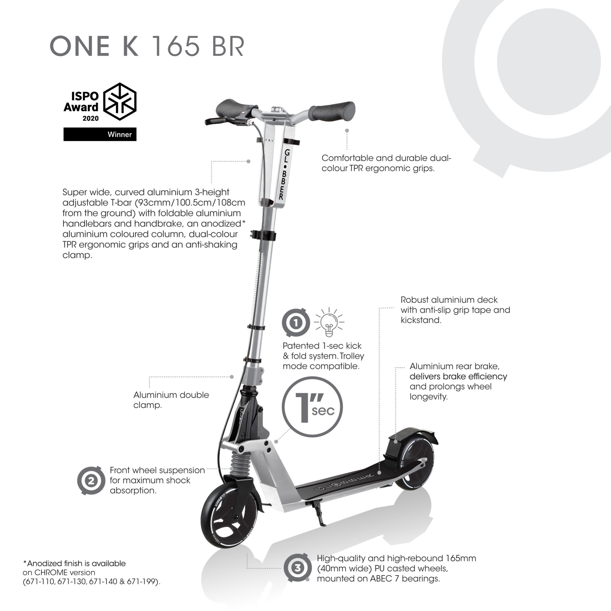 scooter with suspension - Globber ONE K 165 BR 1