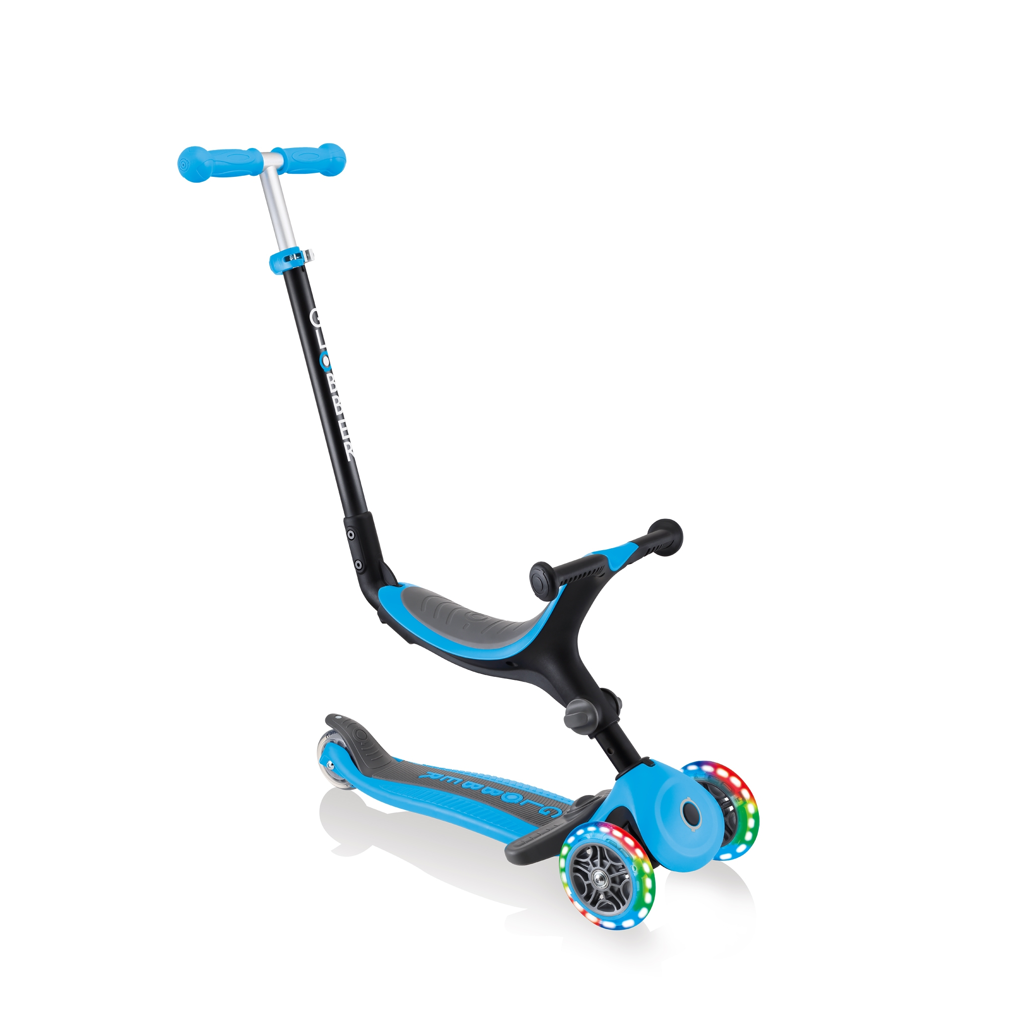 Globber-GO-UP-FOLDABLE-PLUS-LIGHTS-3-in-1-light-up-scooter-for-toddlers-ride-on-mode 0