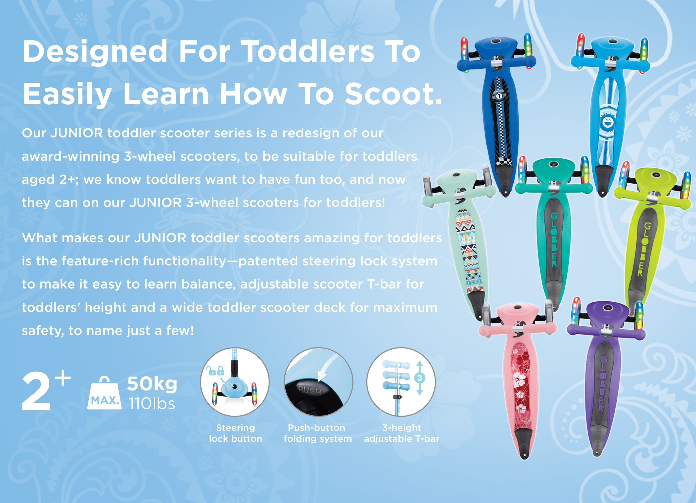 3 wheel foldable toddler scooters for 2 year olds - Globber JUNIOR