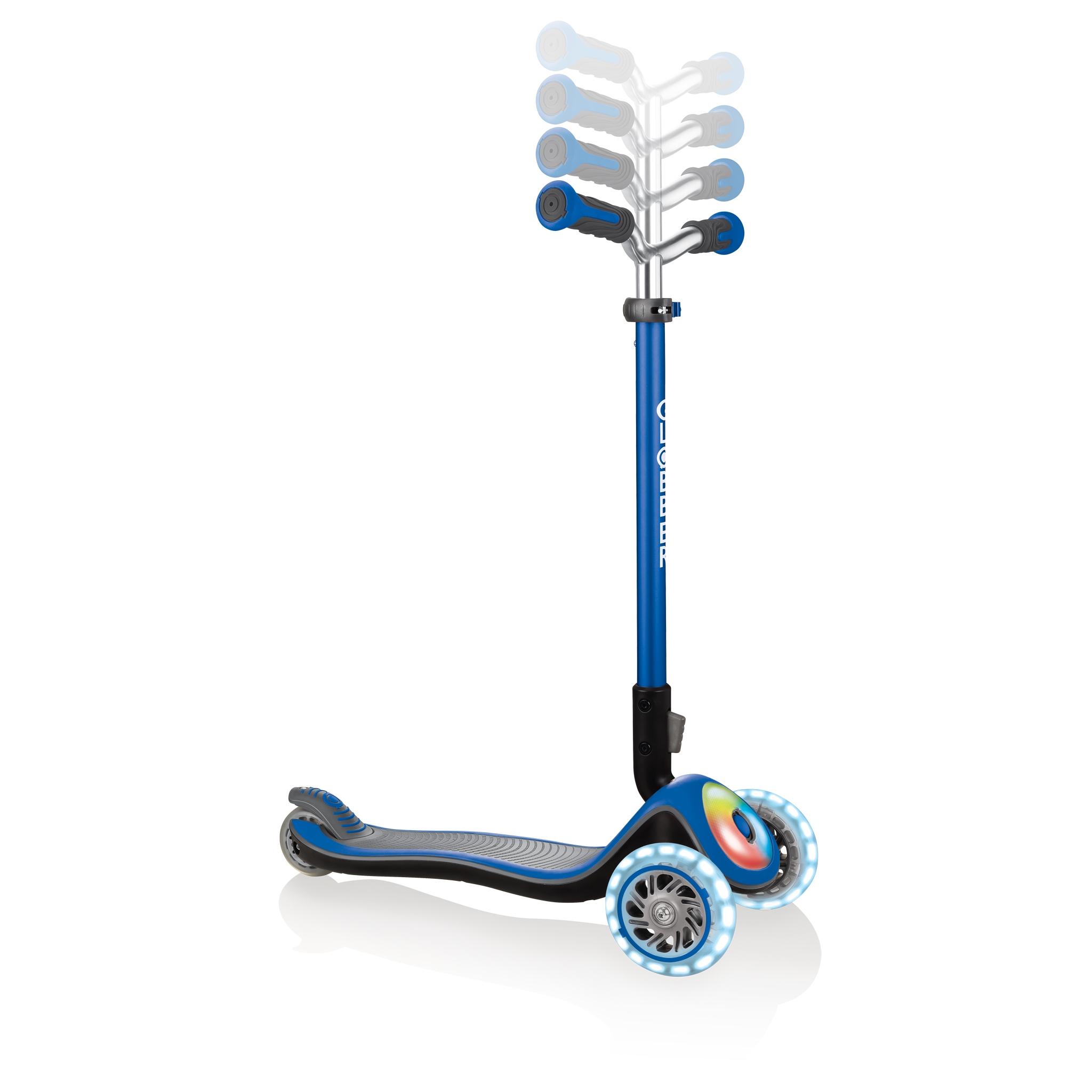 Globber-ELITE-PRIME-best-3-wheel-foldable-scooter-for-kids-with-adjustable-t-bar-navy-blue 1