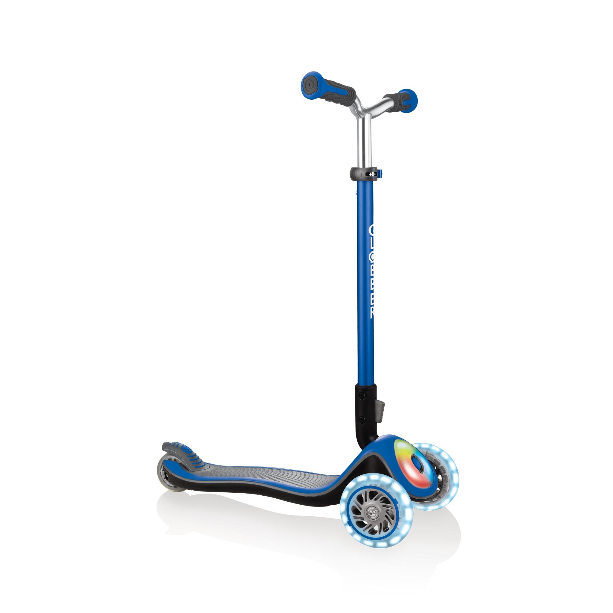 Globber-ELITE-PRIME-best-3-wheel-foldable-scooter-for-kids-aged-3+-navy-blue 0