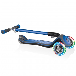 Globber-ELITE-DELUXE-LIGHTS-3-wheel-foldable-scooter-for-kids-with-light-up-scooter-wheels-navy-blue thumbnail 3
