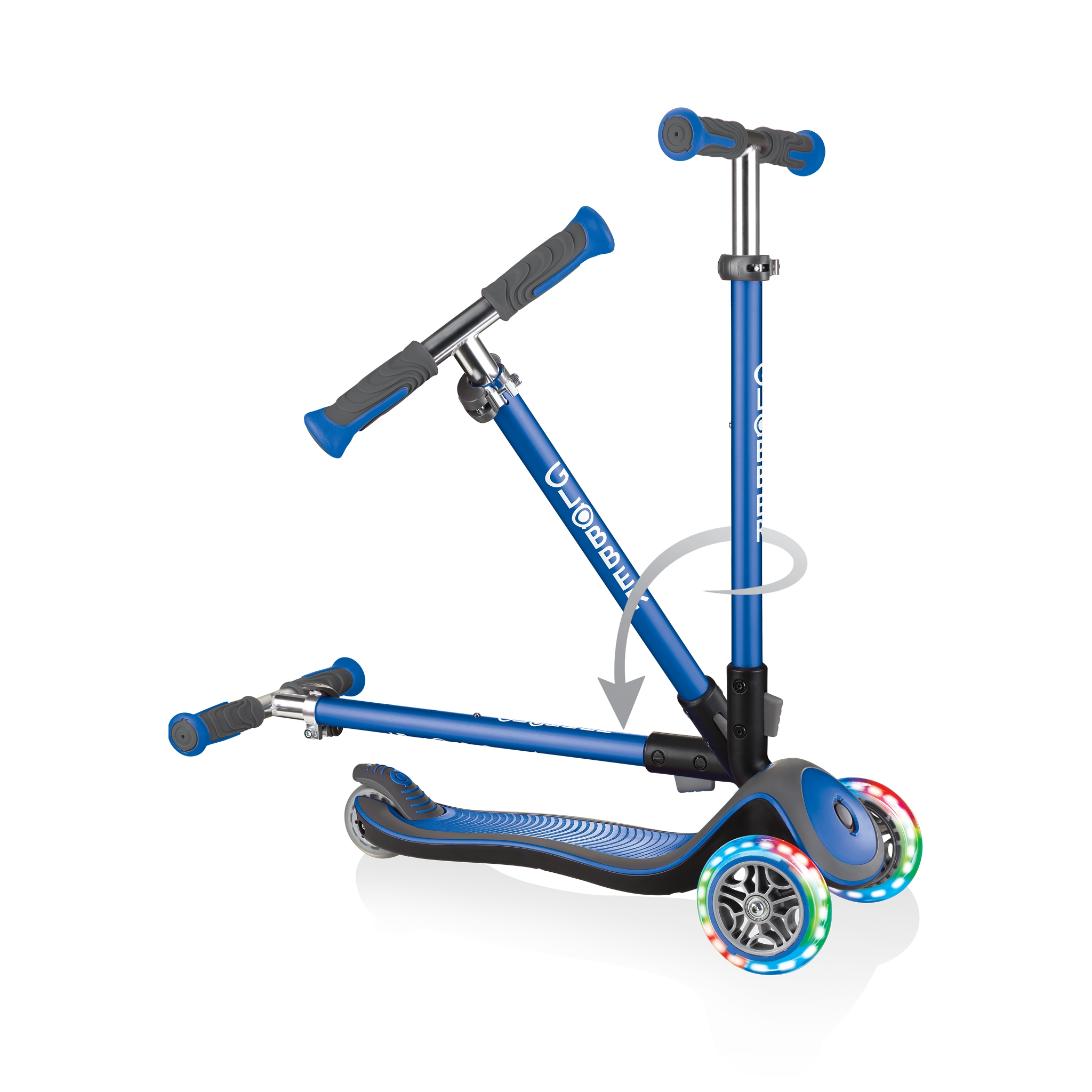 Globber-ELITE-DELUXE-LIGHTS-3-wheel-light-up-scooter-for-kids-fold-up-scooter-navy-blue 2