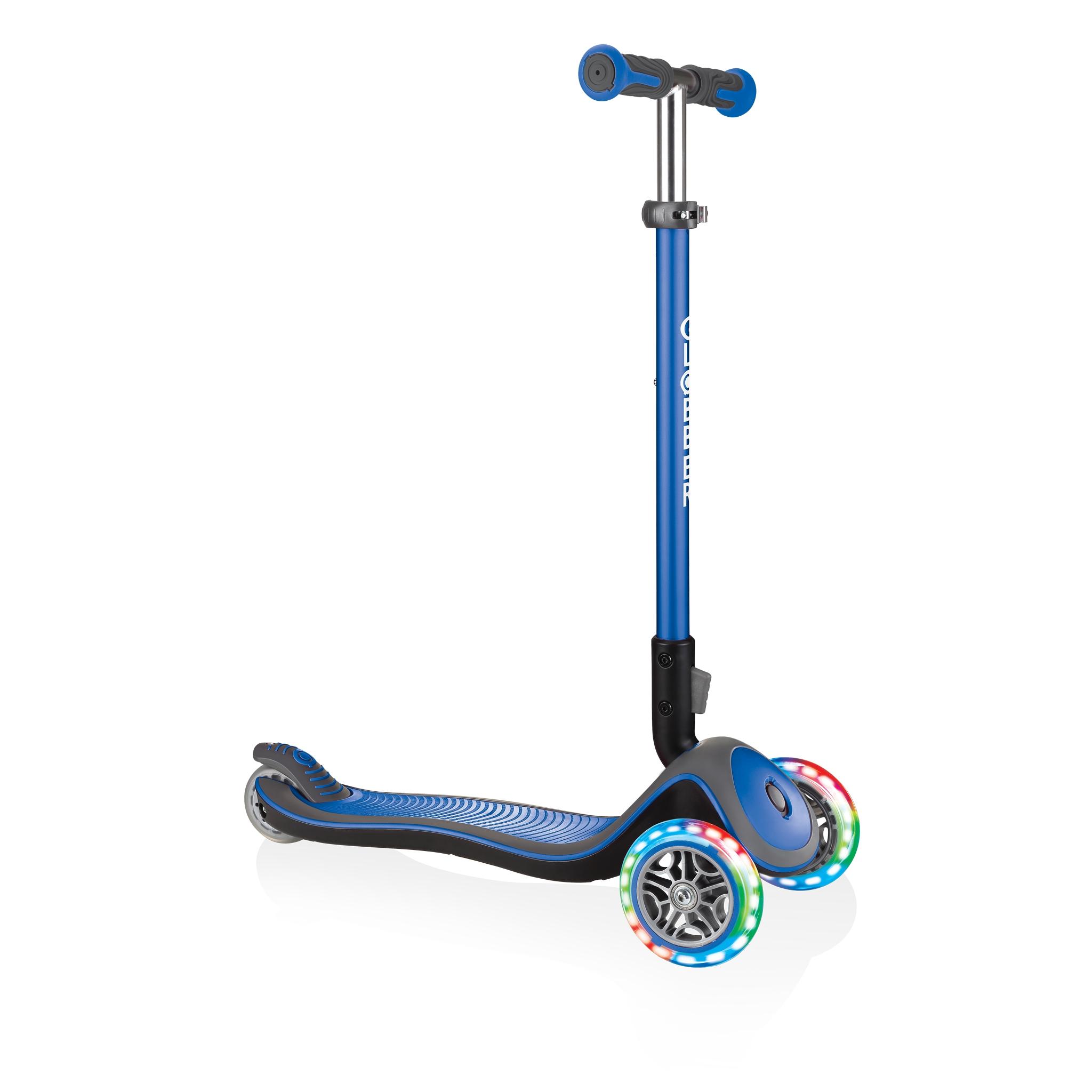 Globber-ELITE-DELUXE-LIGHTS-Best-3-wheel-light-up-scooter-for-kids-aged-3+-navy-blue 0