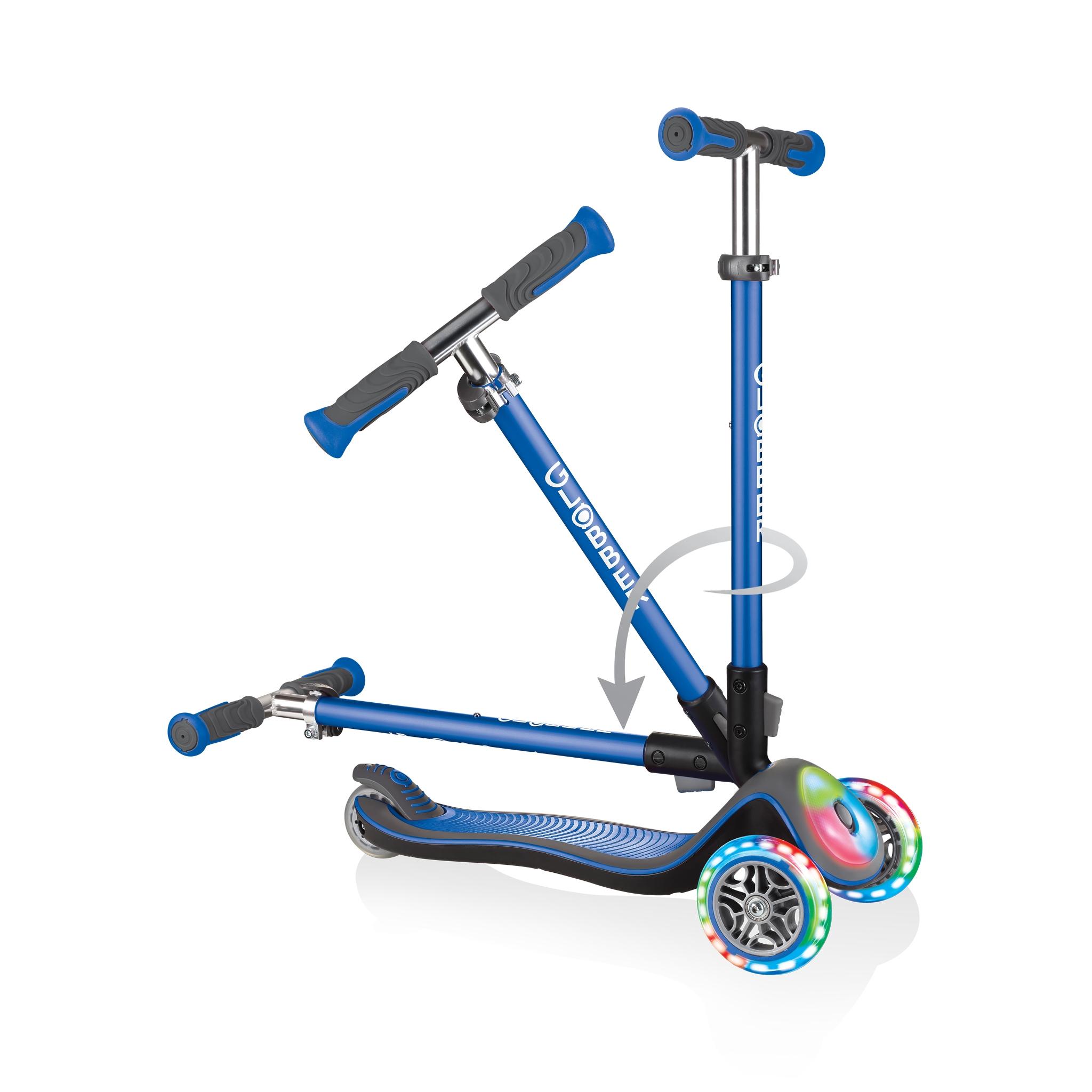Globber-ELITE-DELUXE-FLASH-LIGHTS-3-wheel-light-up-scooter-for-kids-fold-up-scooter-navy-blue 1