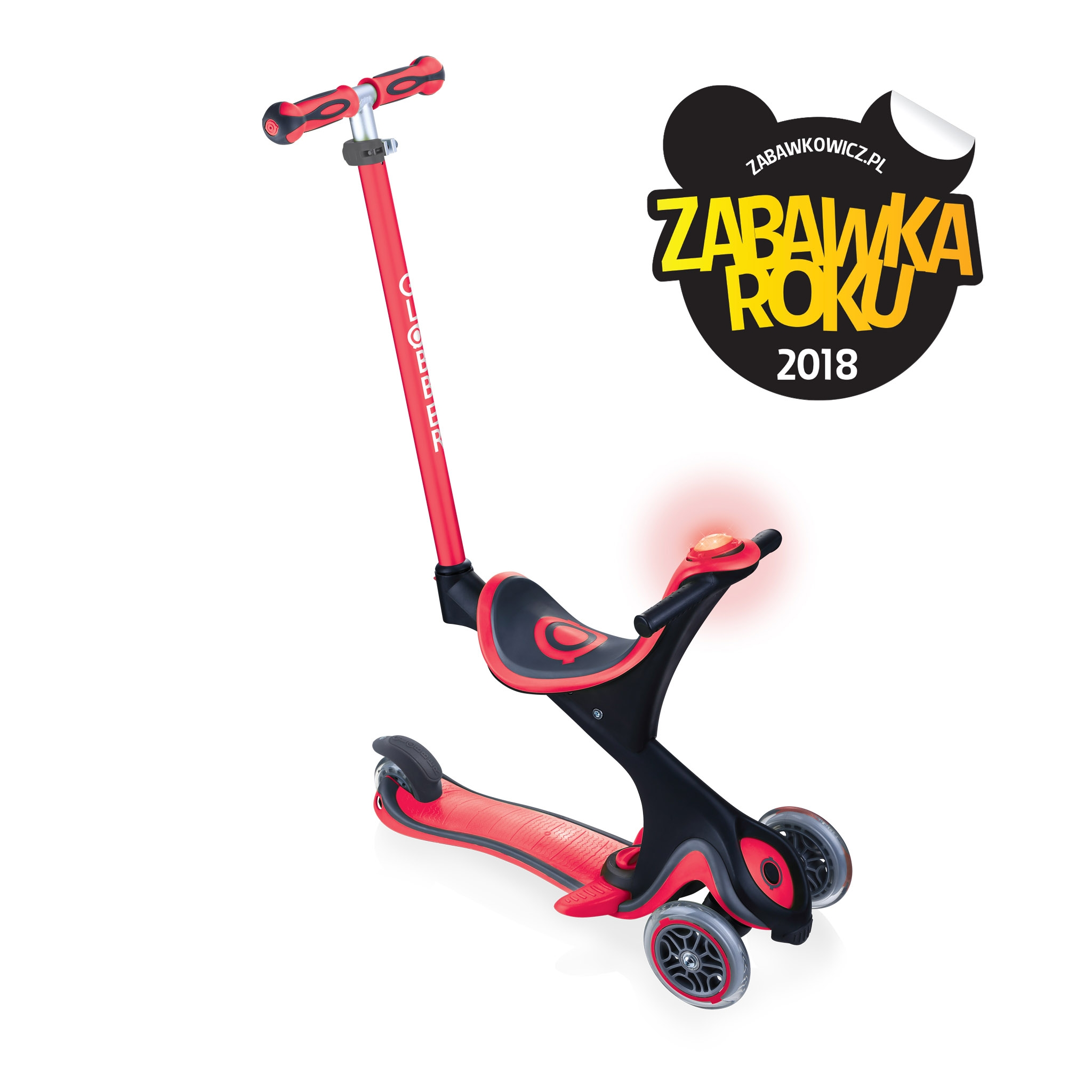 GO-UP-COMFORT-scooter-with-seat-and-LED-flash-and-sound-module_new-red 0
