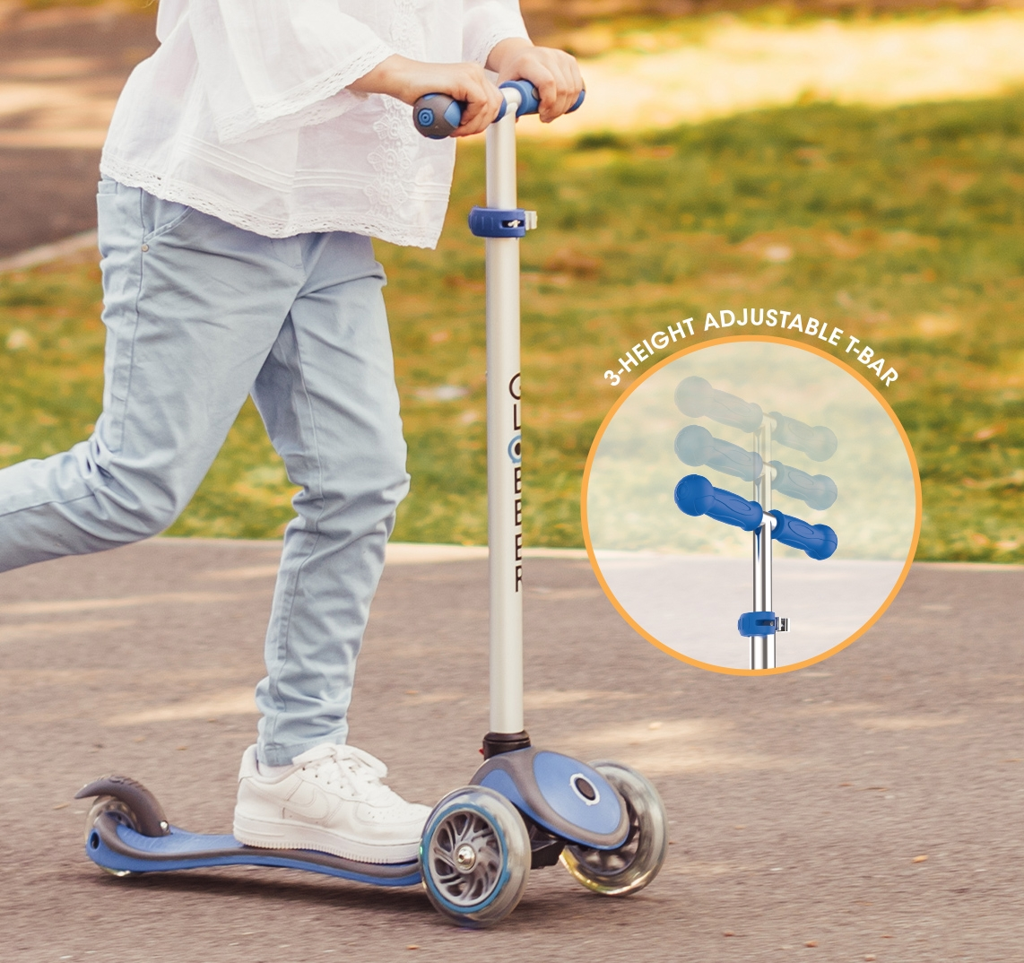 3 wheel scooters with adjustable t-bar