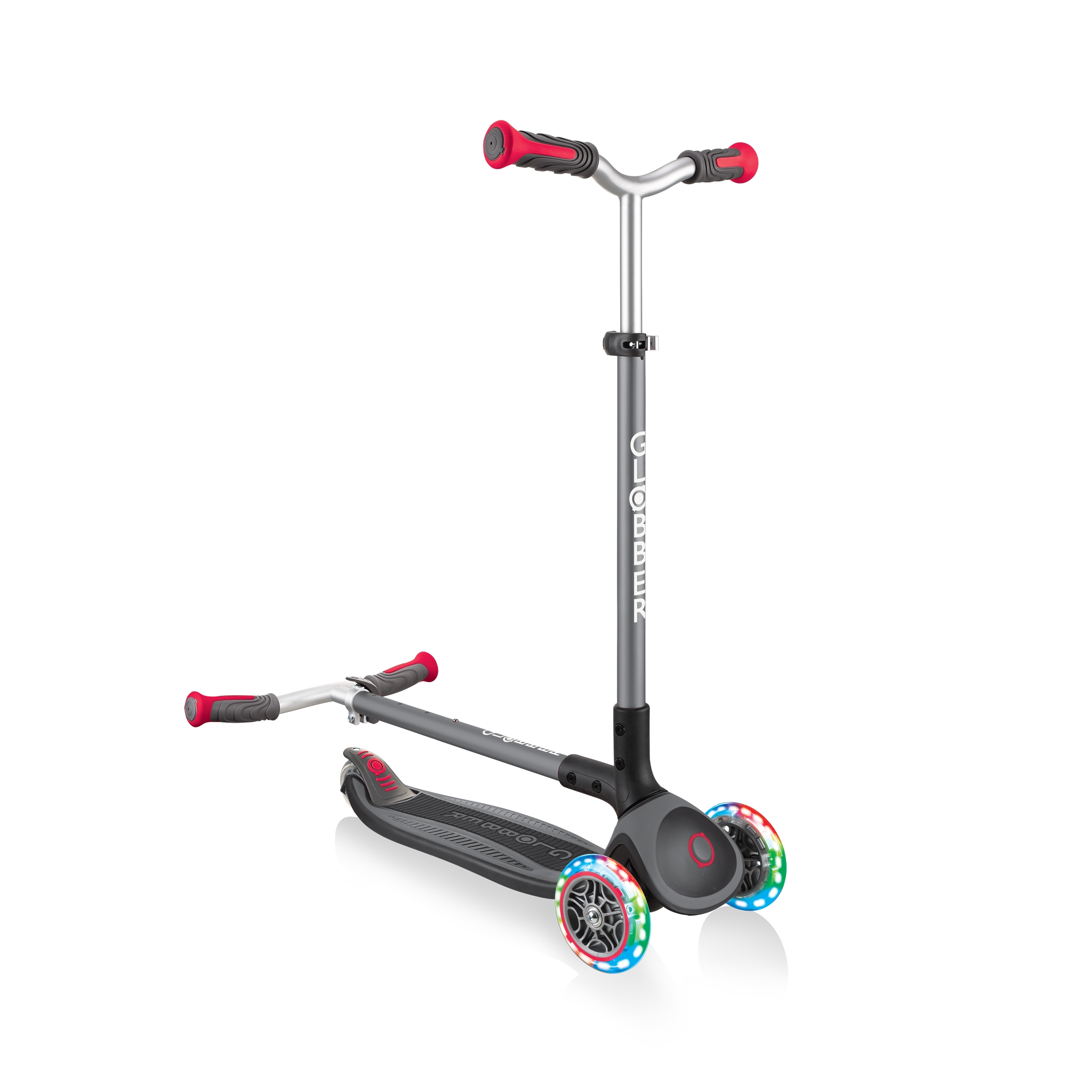 Globber-MASTER-LIGHTS-convenient-foldable-3-wheel-light-up-scooter-for-kids-with-patented-folding-system_black-red 3