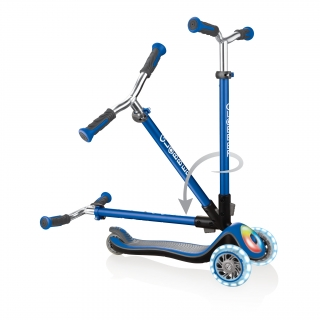 Globber-ELITE-PRIME-best-3-wheel-scooter-for-kids-with-patented-folding-system-navy-blue thumbnail 3