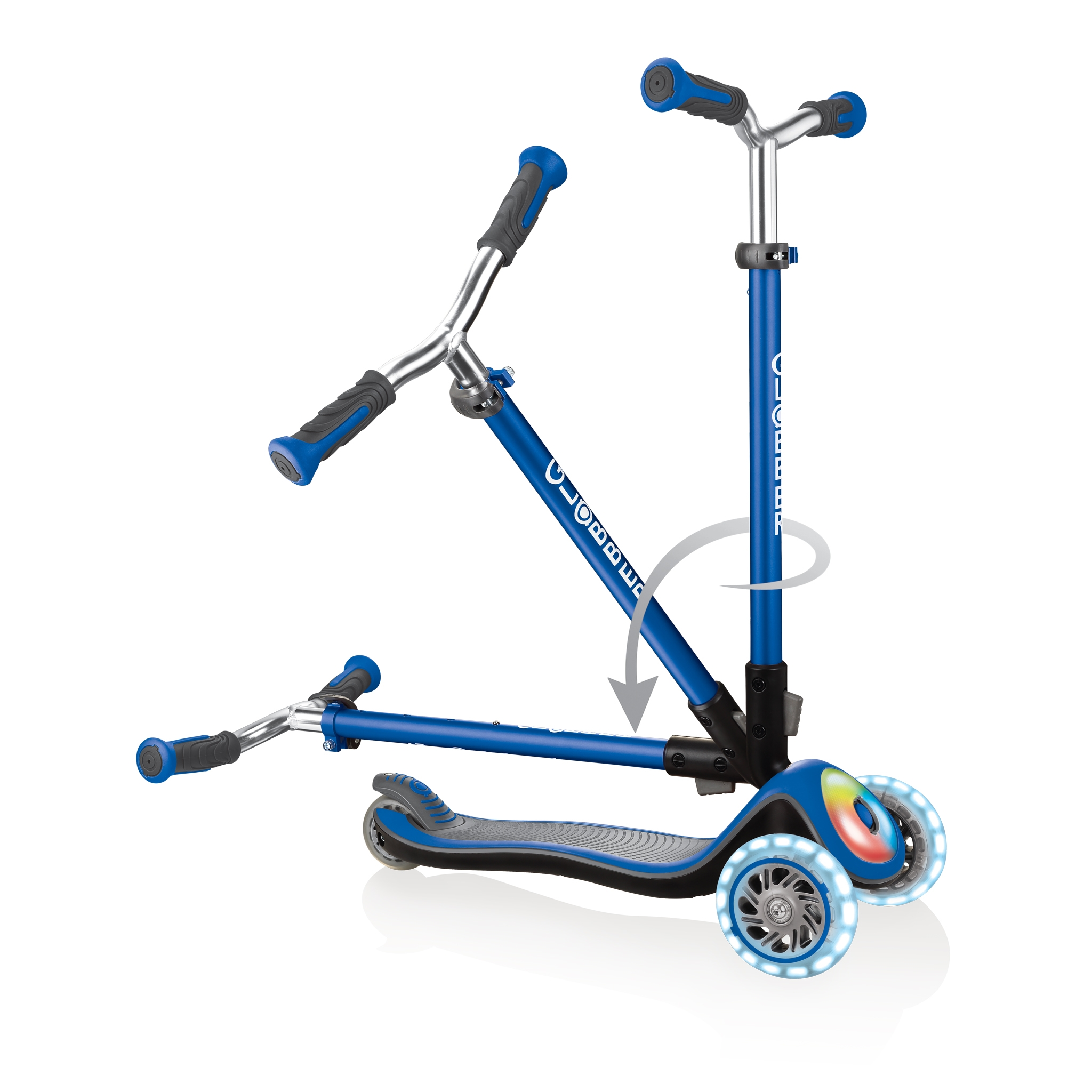 Globber-ELITE-PRIME-best-3-wheel-scooter-for-kids-with-patented-folding-system-navy-blue 3
