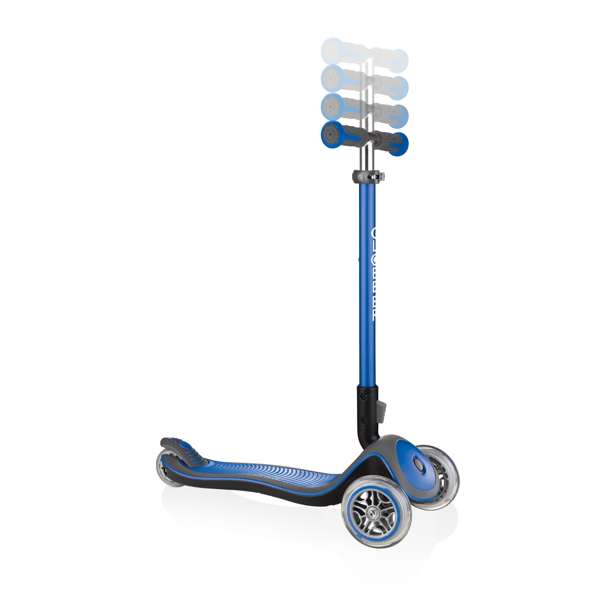Globber-ELITE-DELUXE-3-wheel-adjustable-scooter-for-kids-with-anodized-T-bar-navy-blue 1
