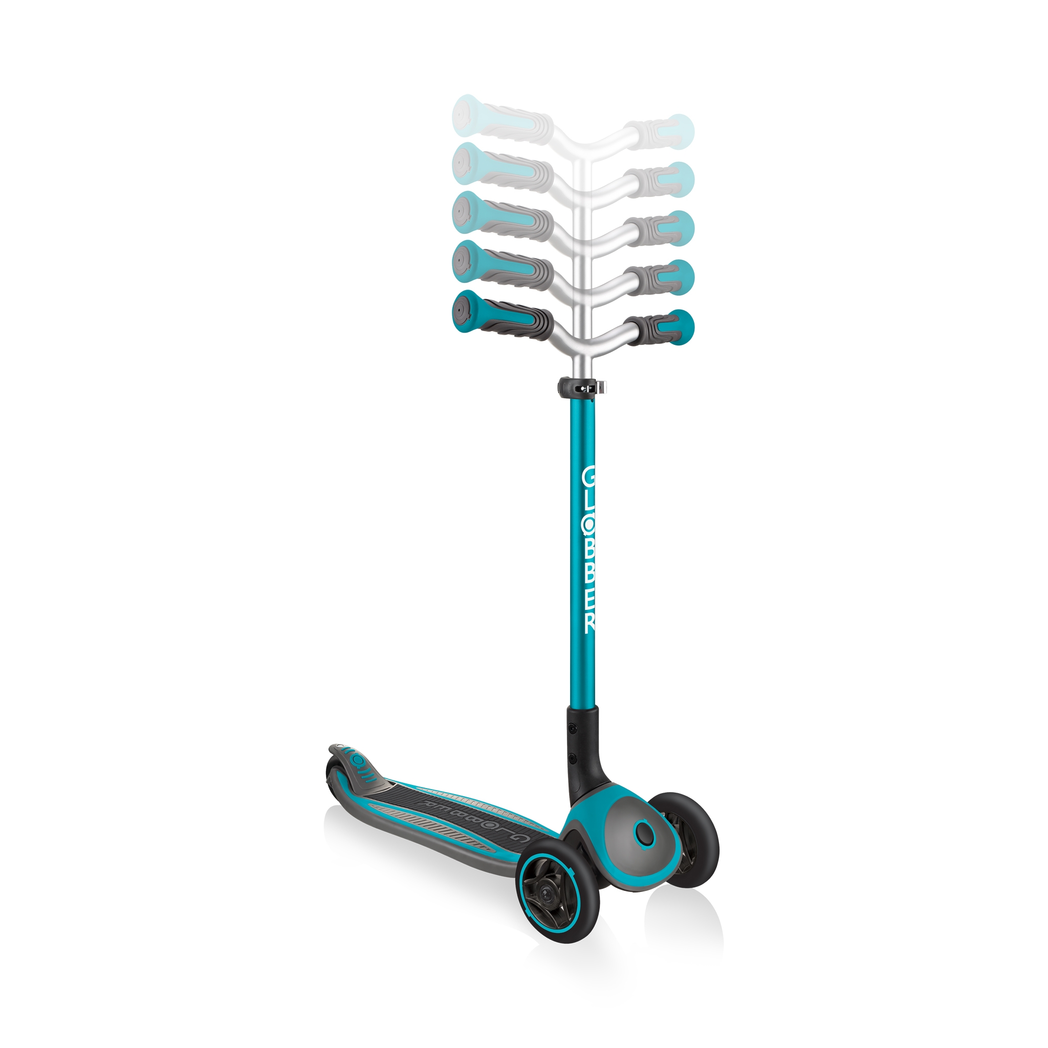 Globber-MASTER-premium-3-wheel-foldable-scooters-for-kids-with-5-height-adjustable-T-bar_teal 2