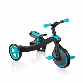 Globber-EXPLORER-TRIKE-3in1-all-in-one-baby-tricycle-and-kids-balance-bike-stage-2-training-trike_teal thumbnail 1
