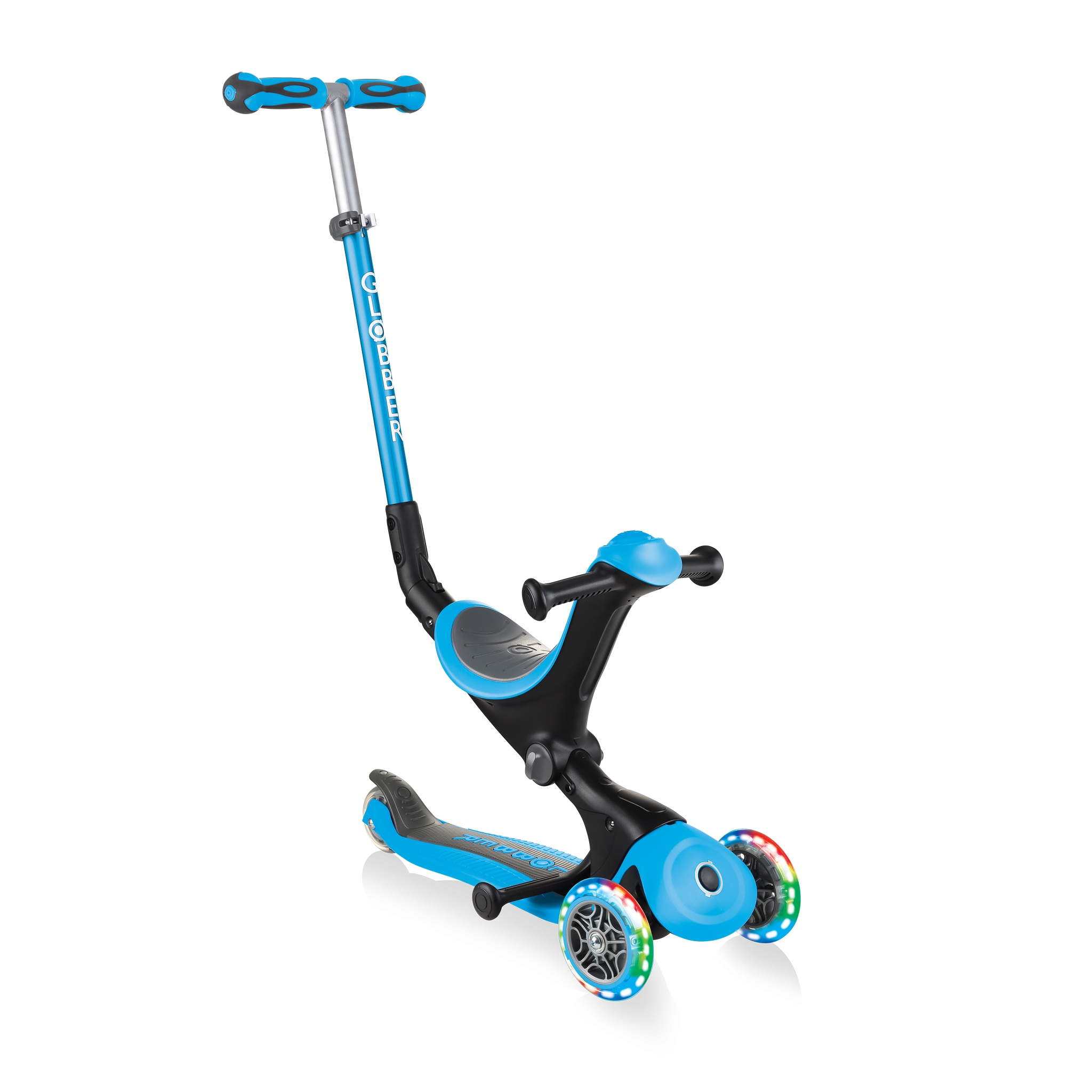 GO-UP-DELUXE-LIGHTS-ride-on-walking-bike-scooter-with-light-up-wheels-sky-blue 0