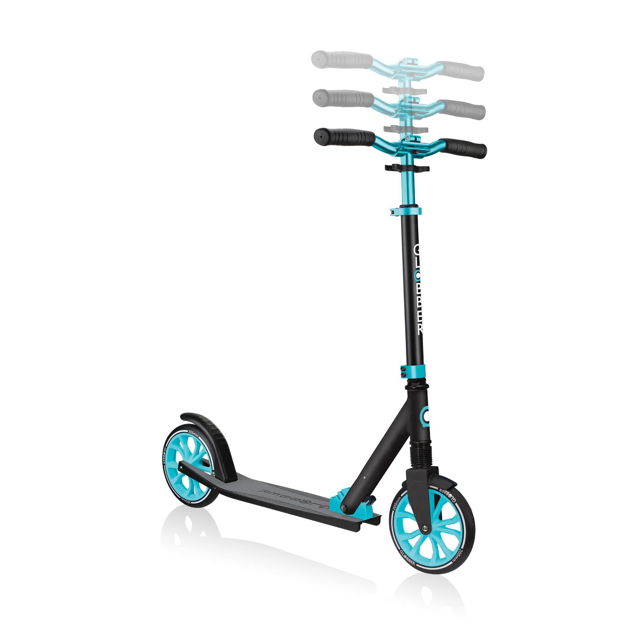Globber-NL-205-205mm-big-wheel-scooter-for-kids-3-height-adjustable-scooter-t-bar 2
