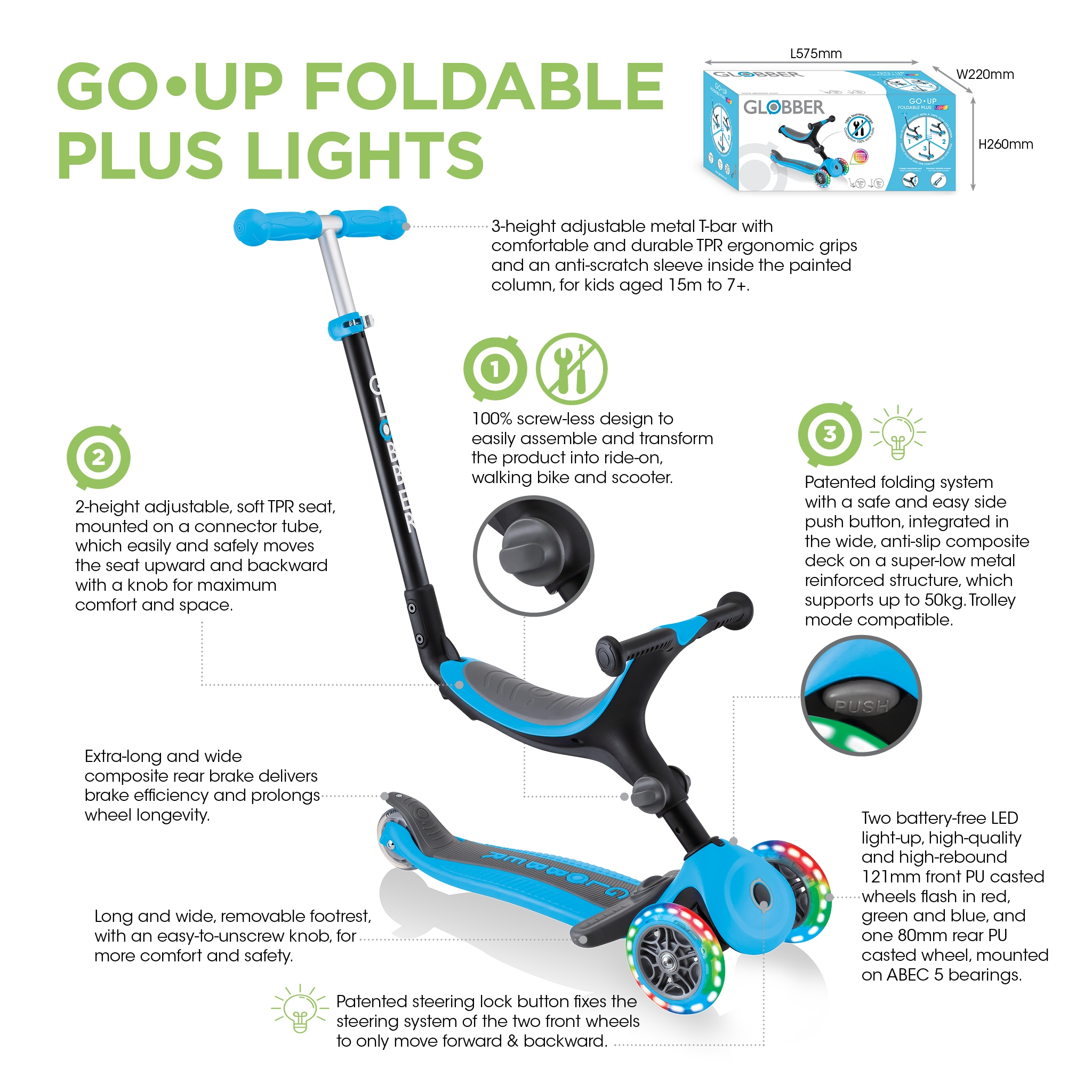 Globber-GO-UP-FOLDABLE-PLUS-LIGHTS-scooter-with-seat-for-toddlers 3