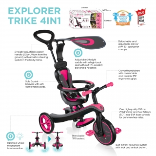 Globber-EXPLORER-TRIKE-4in1-all-in-one-baby-tricycle-and-kids-balance-bike-with-tool-less-design thumbnail 5