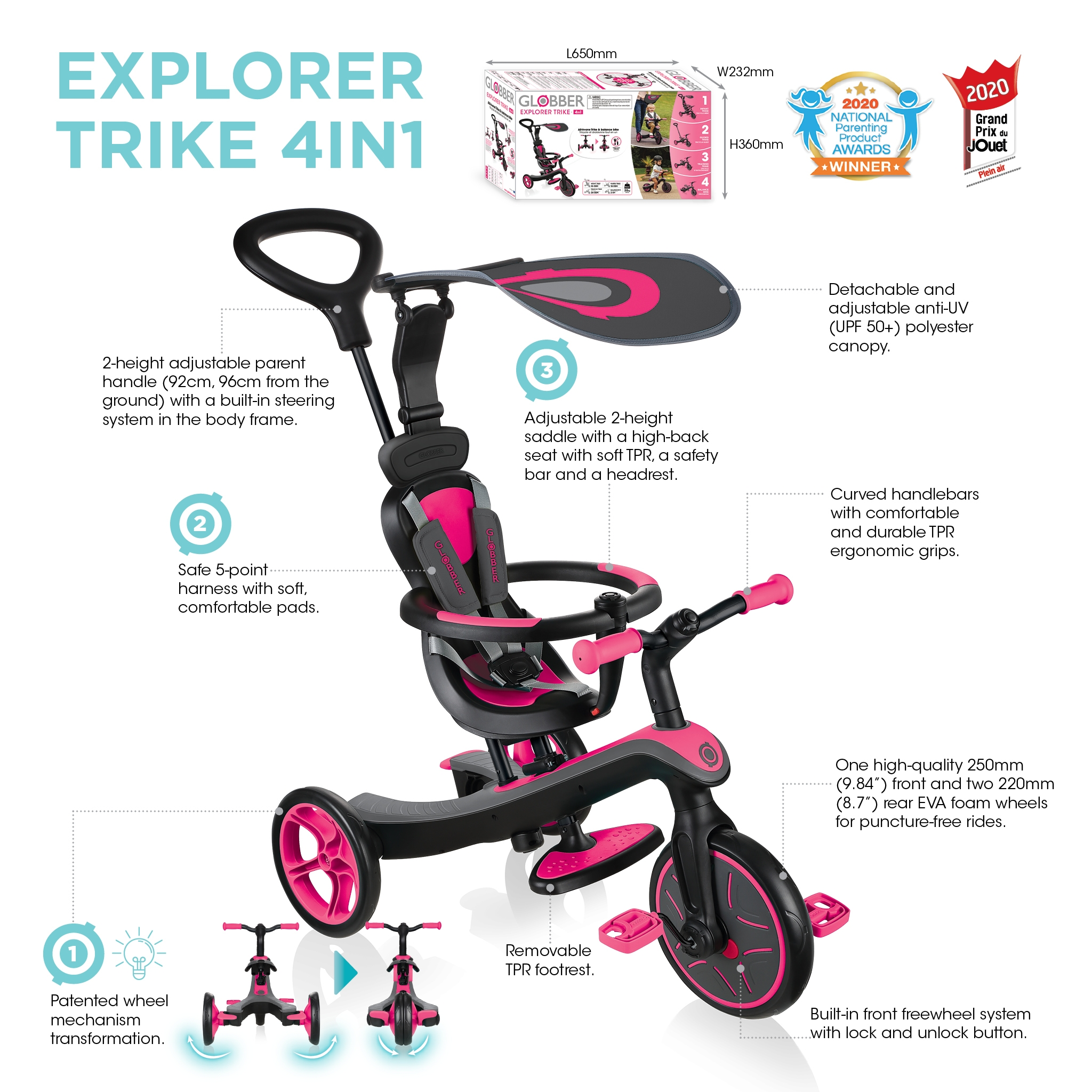 Globber-EXPLORER-TRIKE-4in1-all-in-one-baby-tricycle-and-kids-balance-bike-with-tool-less-design 5