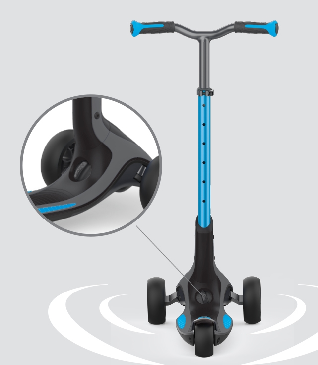 Patented steering system on 3 wheel scooter