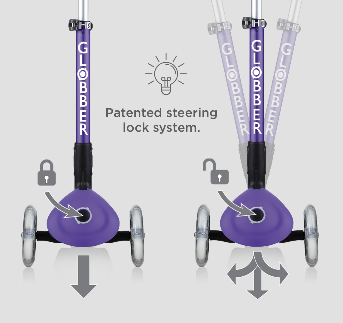 safe 3 wheel toddler scooters for 2 year olds with patented steering lock button - Globber JUNIOR