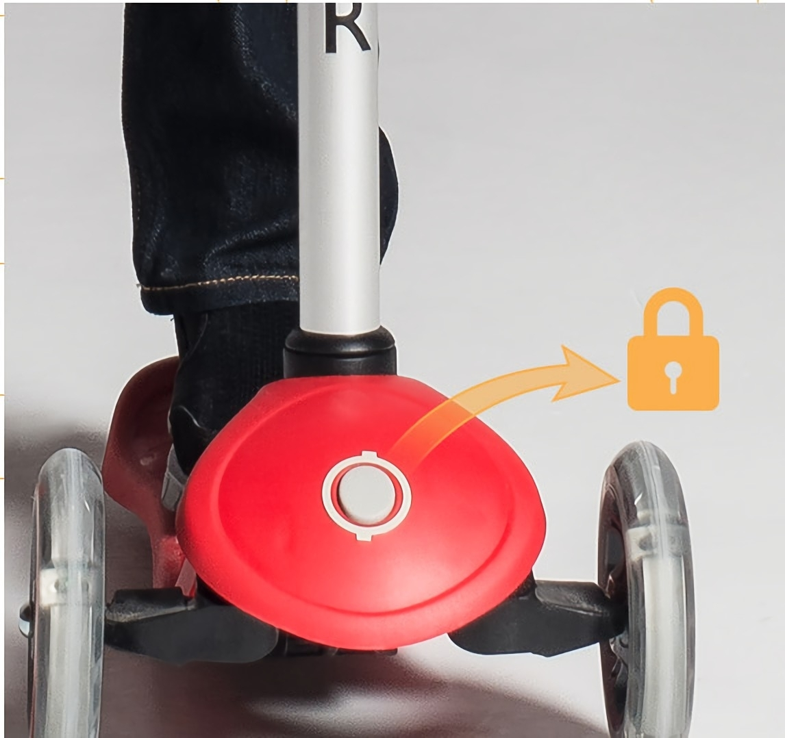 scooter with patented steering lock button