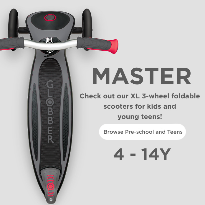 Check out our XL 3-wheel foldable scooters for kids and young teens!