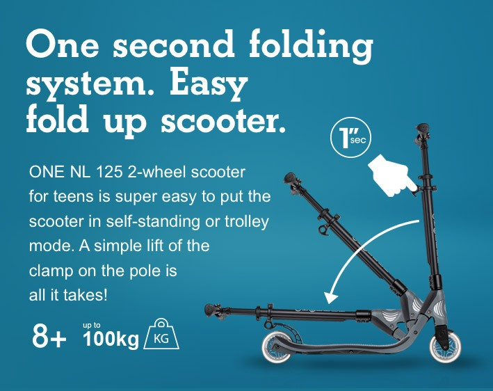One second folding system. Easy fold up scooter.