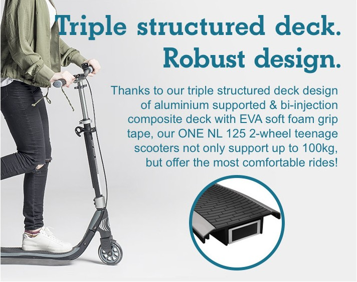 Triple structured deck. Robust design.