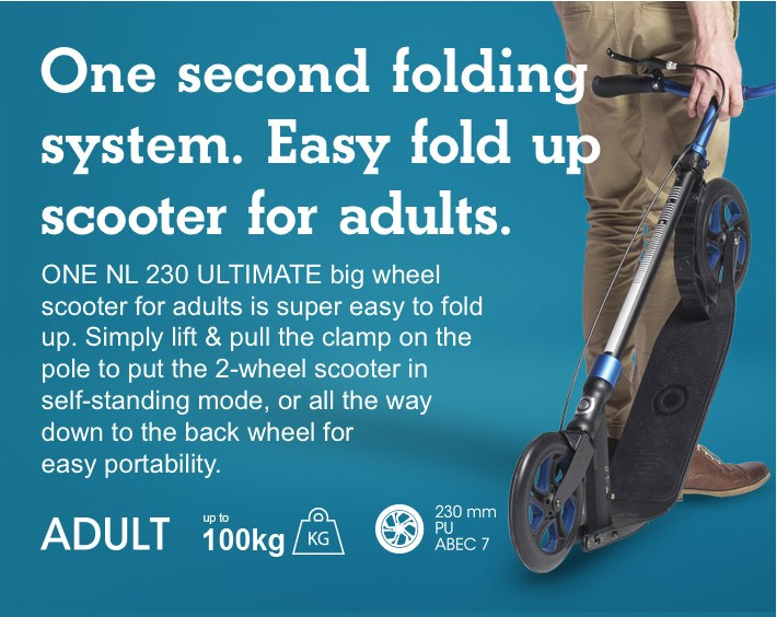 "1"" folding system. Easy fold up scooter for adults."