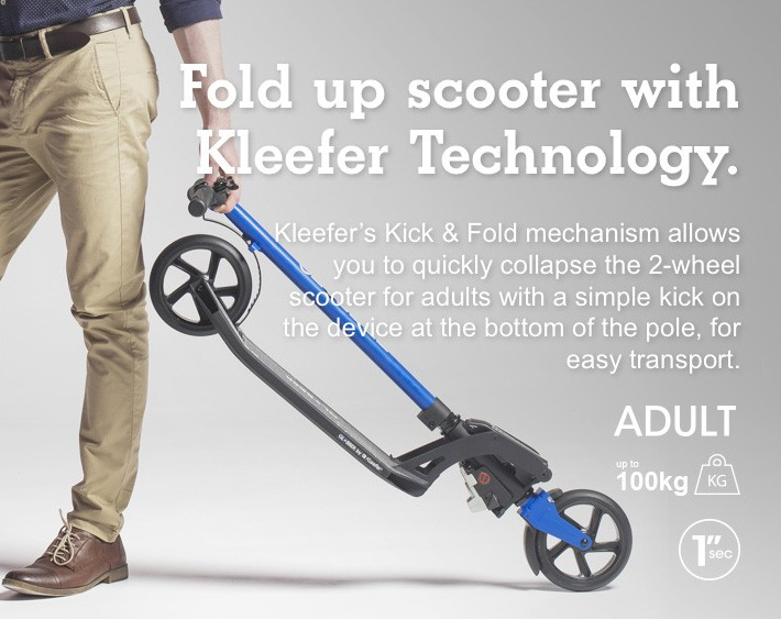 Fold up scooter with Kleefer Technology.