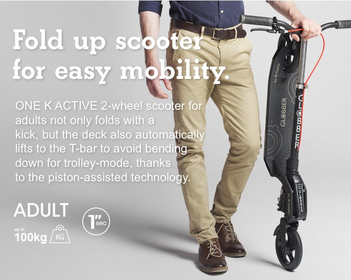 Fold up scooter for easy mobility.