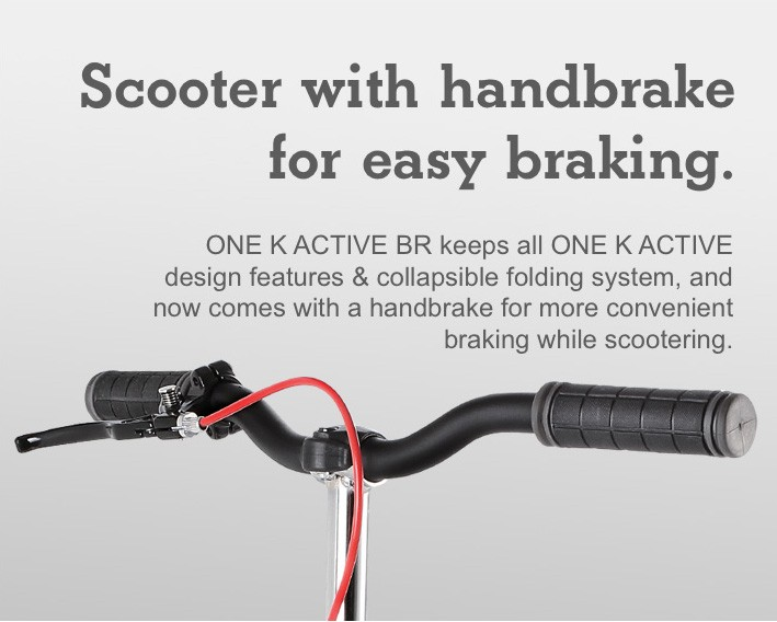 Scooter with handbrake for easy braking.