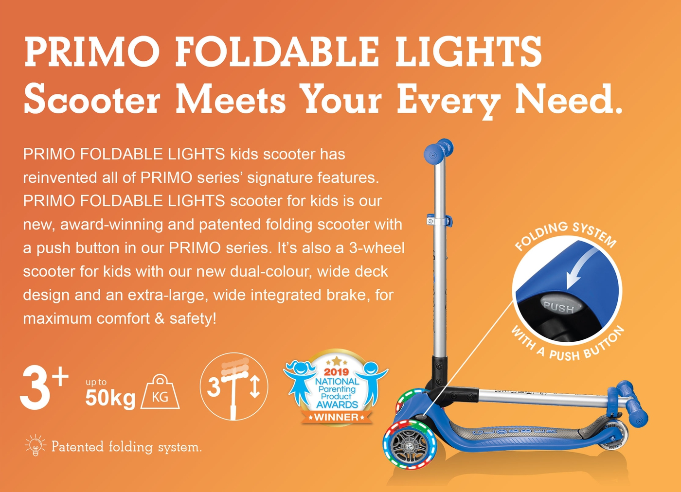 PRIMO FOLDABLE LIGHTS Scooter Meets Your Every Need.
