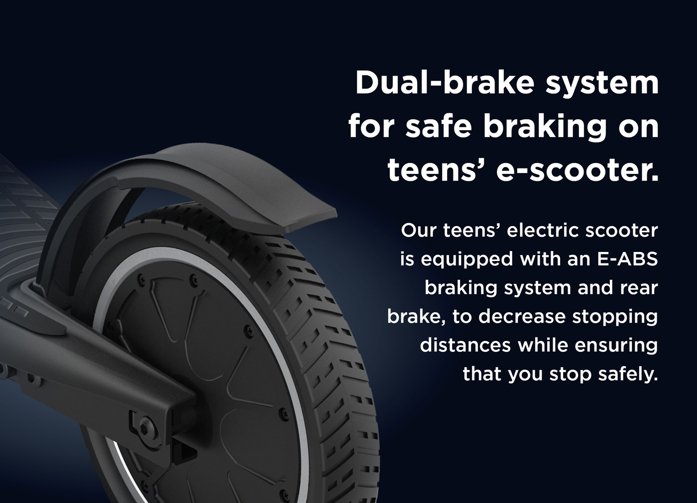 Dual-brake system for safe braking on teens' e-scooter.