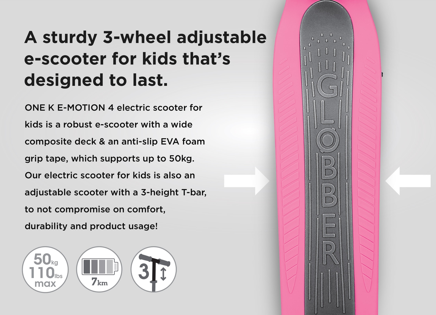 A sturdy 3-wheel adjustable e-scooter for kids that's designed to last.
