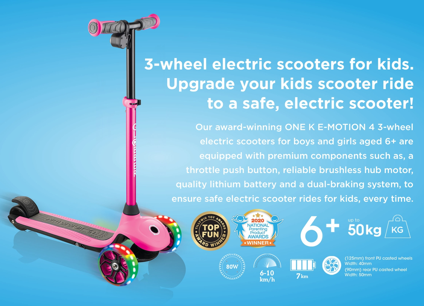Globber-ONE-K-E-MOTION-4-3-wheel-electric-scooter-for-boys-and-girls-with-throttle-push-button