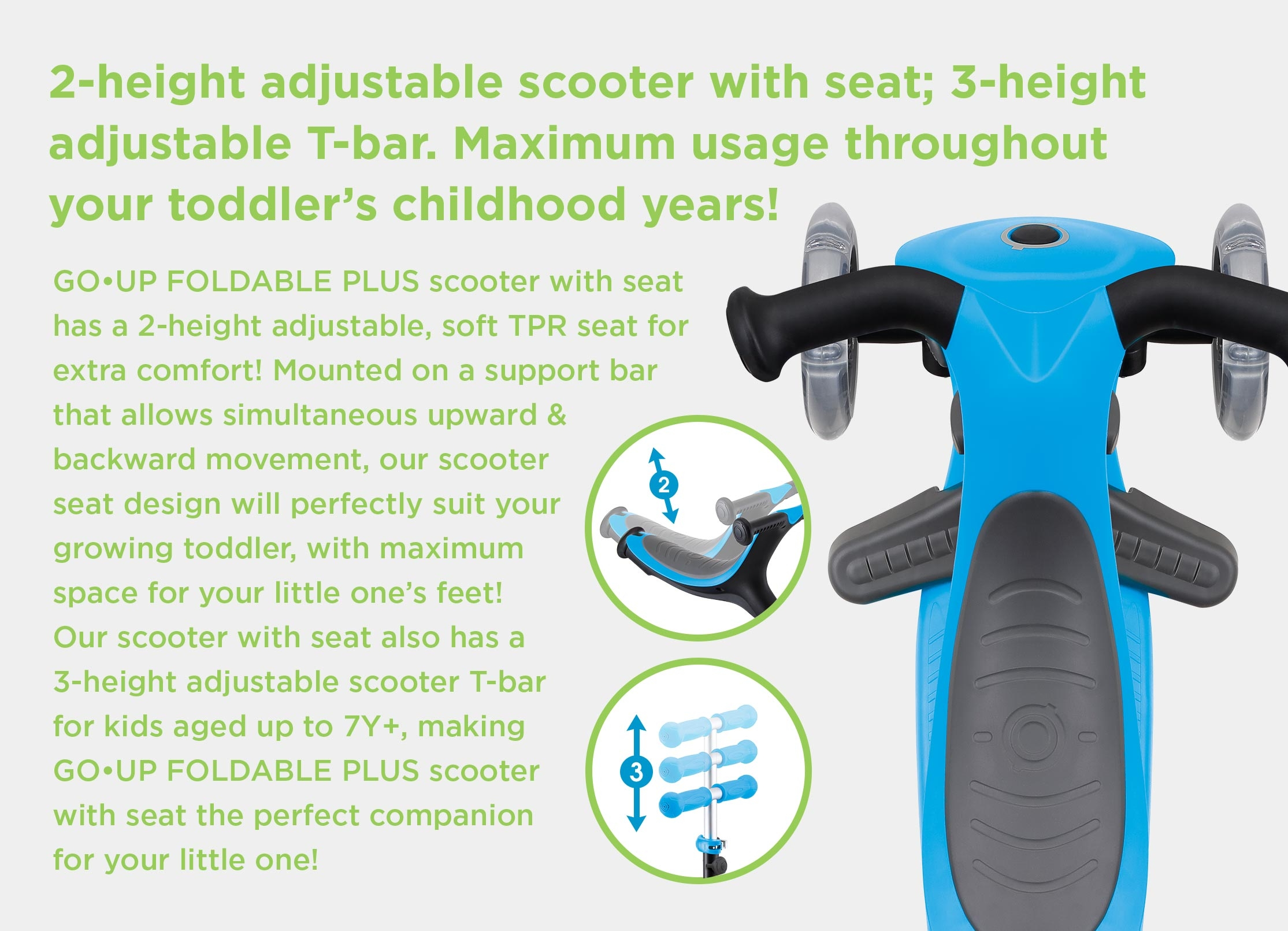GO UP FOLDABLE PLUS is the best scooter for toddlers designed to suit your child's growhth