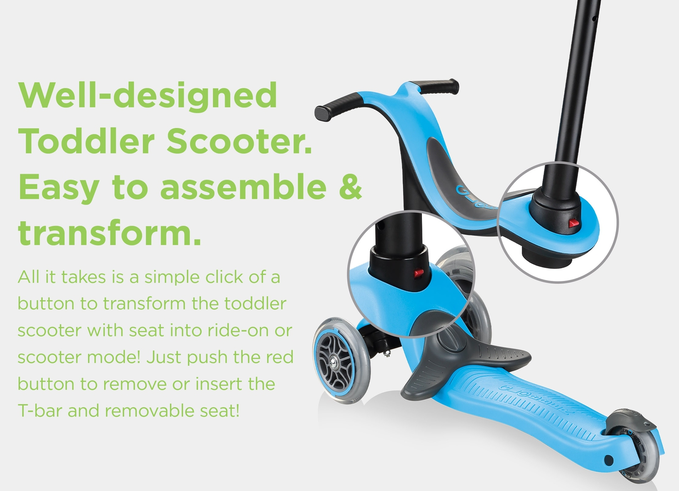Well-designed Toddler Scooter. Easy to assemble & transform.