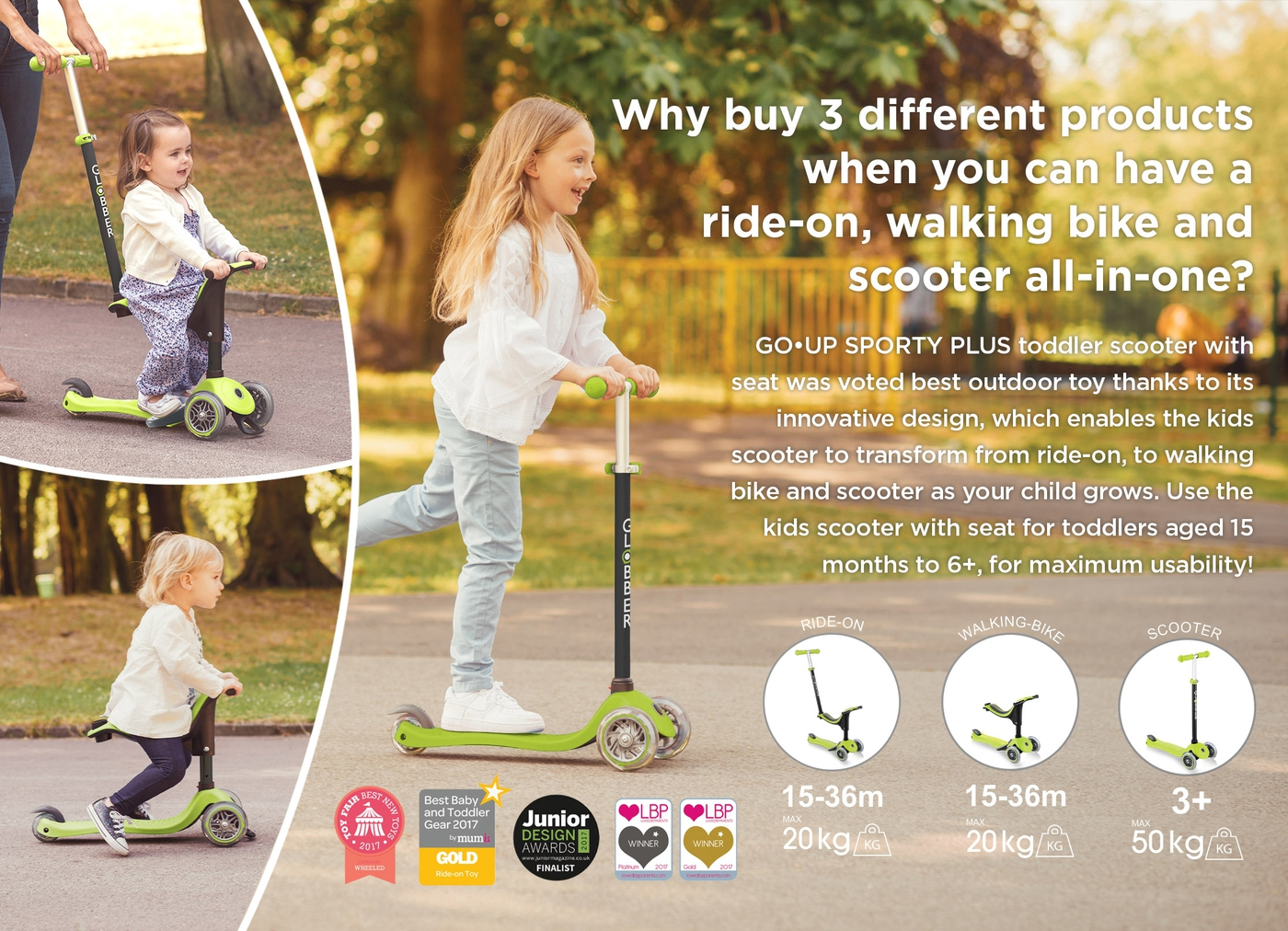 Why buy 3 different products when you can have a ride-on, walking bike and scooter all-in-one?