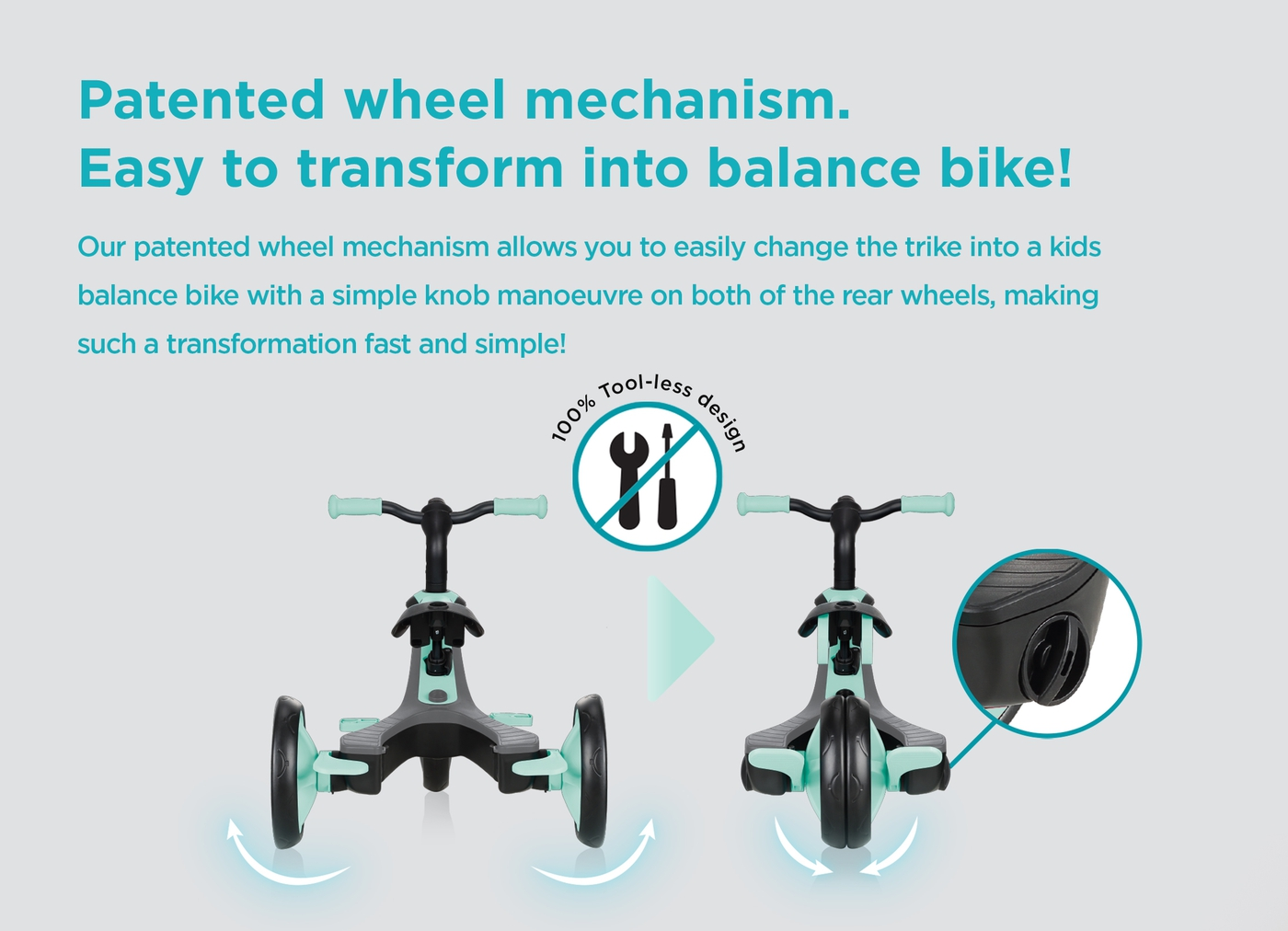 Patented wheel mechanism. Easy to transform into balance bike!
